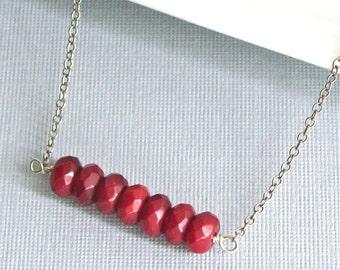 Granat Halskette - Sterling Silber, Edelstein, rot, Januar Birthstone