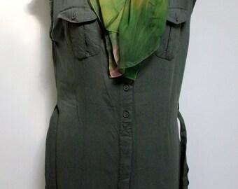 Safari Dress Work Dress, Bottle Green Front Button Closure Dress, Khaki Shift  Military Pencil Dress Casual Workwear Travel Dress