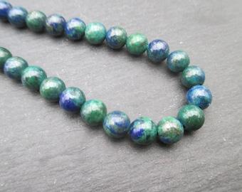 Azurite: 10 Blue 6 mm Green round beads-