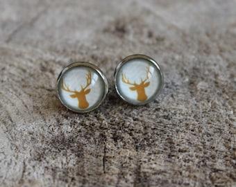 Petites merveilles chevreuil doré // Cute  glass cabochon gold deer (BO-1022)