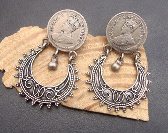Gorgeous Antique Vintage Look Victorian Hand Crafted Old Silver Stud Earrings
