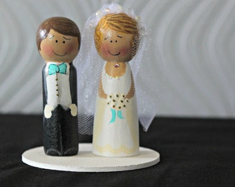Custom Wooden People Wedding Cake Topper