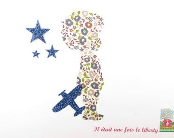 Applied fusible boy and airplane liberty Fairford Brown fabric glittery Navy patch iron on fusible liberty