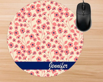 Floral Mouse Pad. Personalized Mouse Pad. Monogram Mouse Pad. Personalized Office Gifts. Teacher Gifts. Promotional Items.