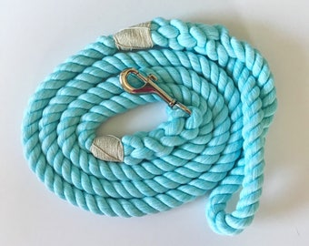 Ultra Soft Aqua Cotton Rope Dog Leash