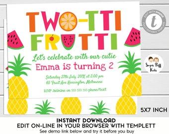 Two-tti-frutti 2nd Birthday Invitation, Two-tti-frutti Birthday Invitation,Two-tti-frutti  Birthday Party Invitation, 2nd Birthday, Templett