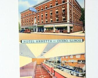 Linen Postcard - Hotel Anetta Cicero  Illinois Postcard / Coffee Shop Postcard  vintage restaurant, vintage hotel postcard old cars postcard