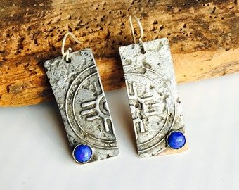 50% OFF Etched Earrings, Mixed Metal Earrings, Tribal Earrings, Unique Earrings, Denim Lapis, Copper and Silver, One-of-a-Kind