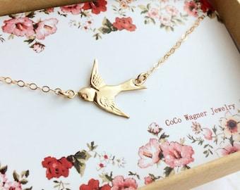 14k Gold Filled Swallow Bird Necklace, Bird Necklace, Sideways Bird Necklace, Sparrow Bird Necklace, Graduation Gift, Everyday Wear