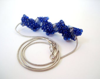 Blue Beaded Spiral Necklace twisted royal blue cobalt blue seed beads and bugle beads on short necklace chain hand beaded jewelry