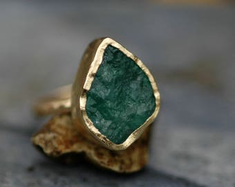 Rough Emerald in 18k Gold Ring- Custom Made