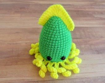 Squid Amigurumi Crocheted Toy Ocean Decor