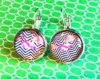 Flamingos cabochon earrings- 16mm
