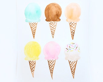 Ice Cream Watercolor Print