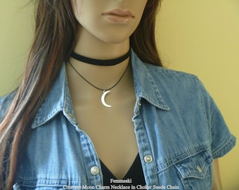 Crescent Moon Choker Necklace, Moon Pendant, Cresecent Moon Charm, 925 Sterling Silver, Moon Jewelry, Suede Choker Chain