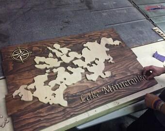Lake Minnetonka Wood Map Sign