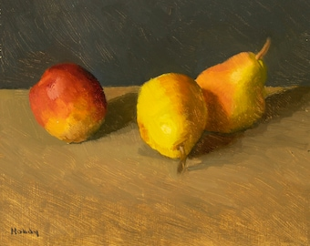 Still life painting with frame - pears and nectarine