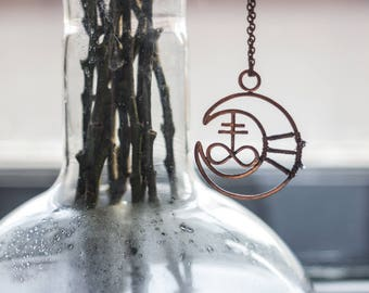Alchemy symbols moon and sulfur pendant, wire wrapped necklace, copper jewelry, witch pendant,