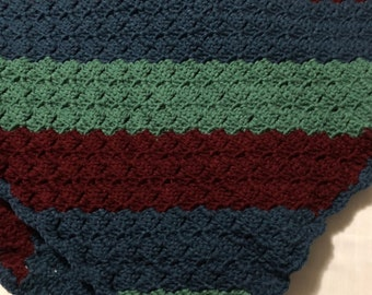 Maroon, Blue, Green, Baby Afghan, Lap Afghan, Corner to Corner Stitch Crochet Blanket