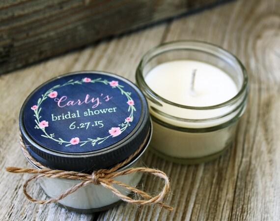 Set of 12 - 4 oz Laurel Chalkboard Candle Wedding Favor - Soy - Personalized Wedding Favors // Laurel & Floral Wedding Favors