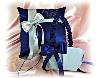 Wedding Ring Pillow and Basket - Navy Blue Grey Wedding Accessories - Ring Bearer Flower Girl - Ceremony Decor
