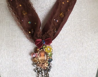 Women Mucha Autumn- Altered Couture Victorian Shabby Chic Pendant Necklace Chocker Cabochon  Handcraft