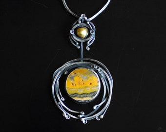 Yellow Statement Necklace, Bumblebee Jasper Jewelry, Rising Sun Art, Scenic Gemstone, Artisan Jewelry, Handmade Metal Art, Inspirational
