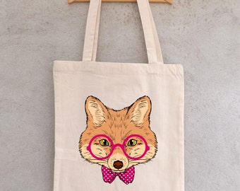 "Tote Bag ""Fox with glasses"" - shopping bag"