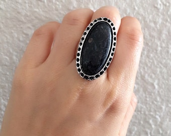 Vintage Black Gemstone Natural Stone Ring, Antique Sterling Silver Plated, Retro Statement Ring, Handmade, Size 5, 6.5, 8