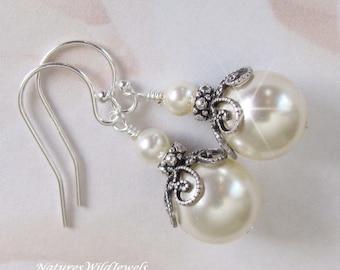 White or Ivory Pearl Bridal Earrings, Vintage Style Pearl Drop Wedding Earrings, Wedding Jewelry, Bridesmaid Earrings by NaturesWildJewels