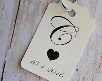 Wedding Favor Tags, Monogram,  Wedding Gift Tag, Wedding Tags, Personalized Tags, Wedding Thank You, Paper Tags