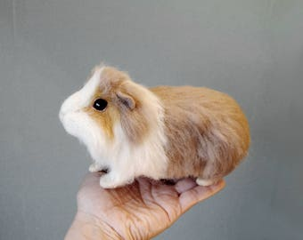 Needle Felted Guinea Pig, Custom Made Guinea Pig, Needle Felted Pet Sculpture, Handmade Animal, Custom Made Pet Portrait