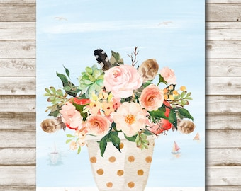 Seaside Potted Floral Printable Wall Art Print Coastal Wall Art Home Decor 5x7 8x10 11x14 Beach Decor Floral Print Photography Prop