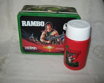 Rambo Tin Lunch Box With Thermos 1985