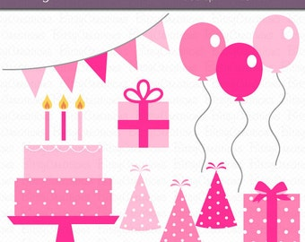 Birthday Party in Pink Digital Art Set Clipart Commercial Use Clip Art INSTANT DOWNLOAD Birthday Clipart Party Clipart