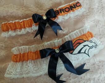 Denver Broncos Inspired Football Wedding Garter Belt Set w/ White Lace
