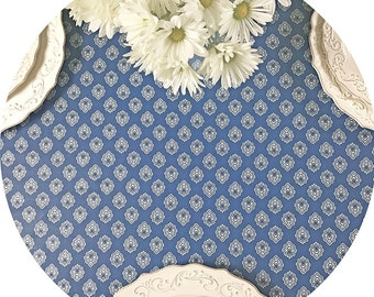 "Round Tablecloth 42 to 60"" French Provence  Laminated Coated Grasse in Blue -or custom made your size - Umbrella hole available"