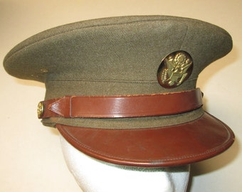 WW2 WWII Military Officer Dress Hat, Authentic