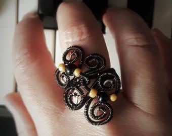 gothic black statement ring