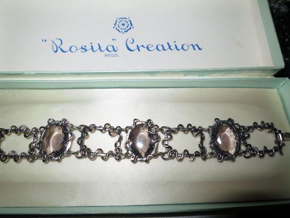 Lovely vintage silvertone faceted fx smoky topaz glass bracelet