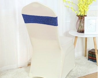 Royal Blue Glitter Sequin Chair Bands Chair Sashes Chair Bow Ribbon Wedding Engagement Birthday Anniversary Party Reception Bouquet Decor