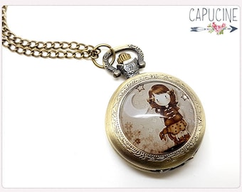 Little Girl Pocket Watch Necklace - Necklace watch bronze - Glass dome girl