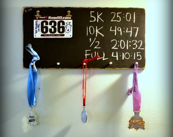 Wooden Chalkboard Race Sign / Bib Holder / Medal Holder