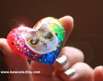 Glamour Kitty Ring, Resin Ring, Rainbow Heart Jewelry, Statement Ring, Sprinkles Resin Glitter Ring for Her, Cute Valentine Gift Under 30
