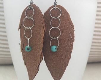 leatherette earrings, women's earrings, boho earrings, bohemian earrings