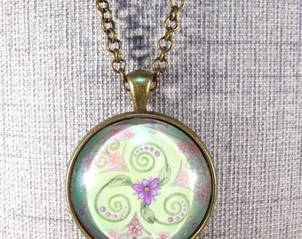 Pastel Triskelion Round Pendant Necklace