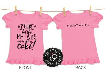 I'm Here ... Petals and Cake Tee {with Hashtag on Back} for Little Girls /// Flower Shirt, Petal Shirt, Wedding Shirt | #1805