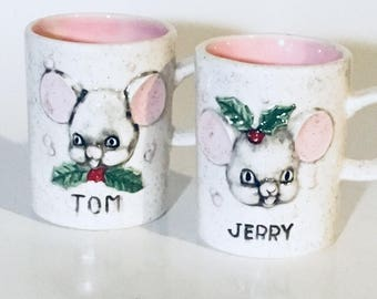 Tom and Jerry mugs cups mid century