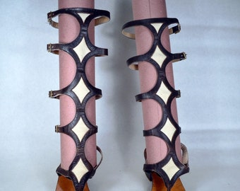 1960s/70s Strappy GLADIATOR SANDALS_I. MAGNIN_True 60s/70s Vintage_Knee High_Dark Brown Leather_Ivory Canvas_GoGo Boots_Chunky Heel_Mod_BoHo