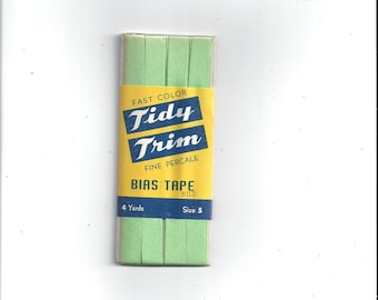 1950s Package Bias Tape by Tidy Trim in Nile (Green), 4 Yards, Single Fold Percale, Size 5, Mid Century Home Sewing Trim
